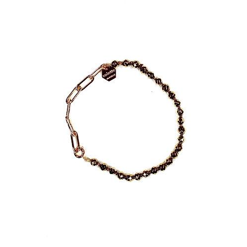 "Bracelet ""Blanche"" Hématite dorée et chaîne forçat or"