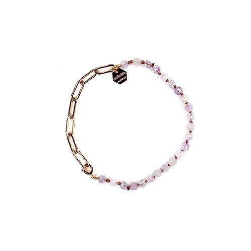 """Bracelet """"Blanche"""" Améthyste lavande et chaîne forçat or"""