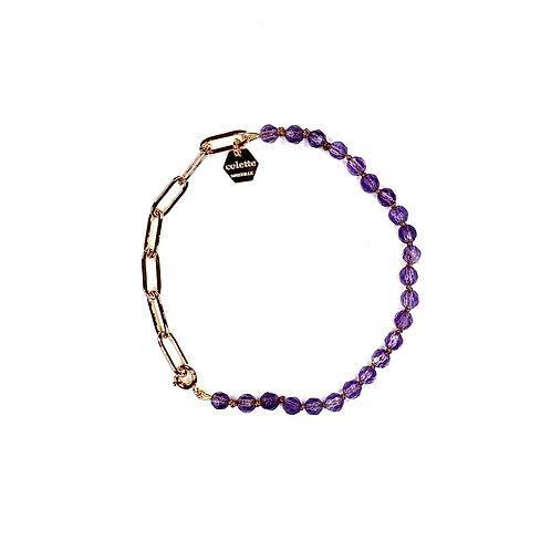 """Bracelet """"Blanche"""" Améthyste et chaîne forçat or"""