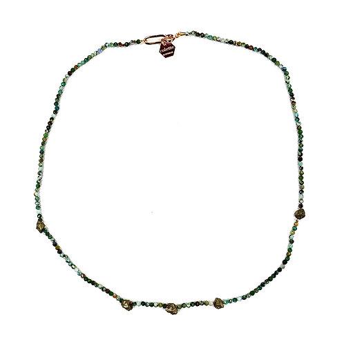 """Collier """"Mélette"""" Turquoise africaine et Pyrite"""