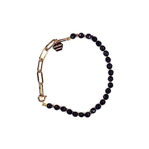 "Bracelet ""Blanche"" Blue Sand Stone et chaîne forçat or"