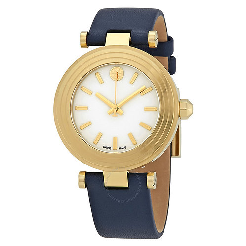 Tory Burch Classic T Gold Ivory Navy Blue Leather Watch