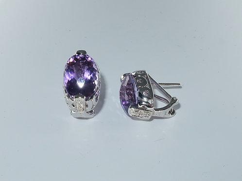 Ladies Amethyst And Diamonds Earring