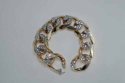 Unisex 14k Yellow Gold Cuban Link Diamond Bracelet.