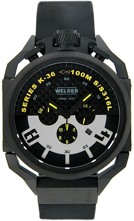 Welder by U-Boat Chronograph Black Ion-Plated Steel Mens Watch Rubber Strap