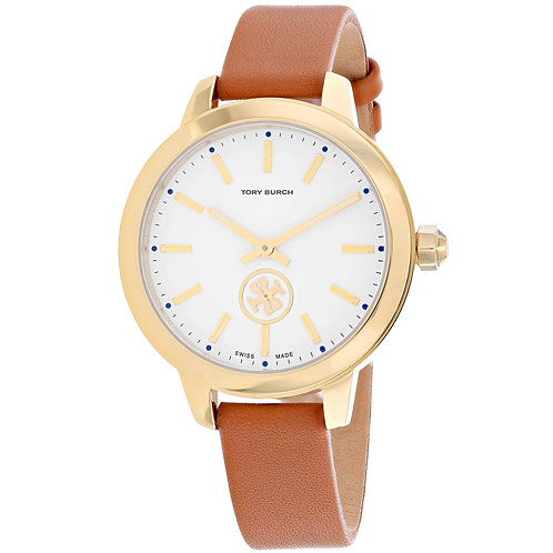 Tory Burch Women's The Collins Leather Watch, Gold/Ivory/Luggage,