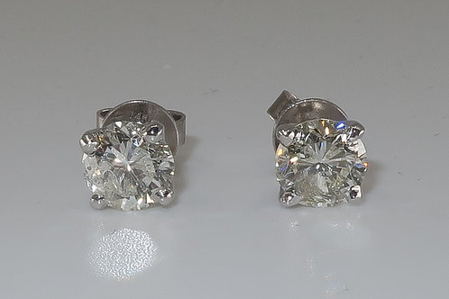 14Karat White Gold 2.14cttw Diamond Stud Earrings with Post back