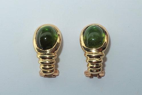 5cttw Green Tourmaline 18karat Yellow Gold Earrings