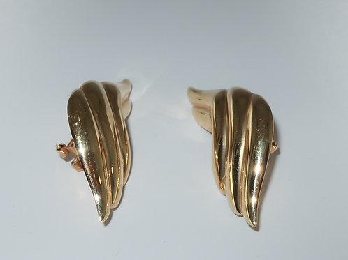 High polish Gold Wing Earrings with Omega backs 14 Karat Yellow Gold