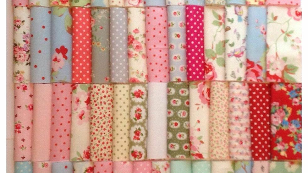 Pre-cut Fabric  80pcs Assorted Pre Cut Charm 10x10cm Cotton Squares Quilt Fa