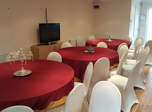 5ft round table with red table cover