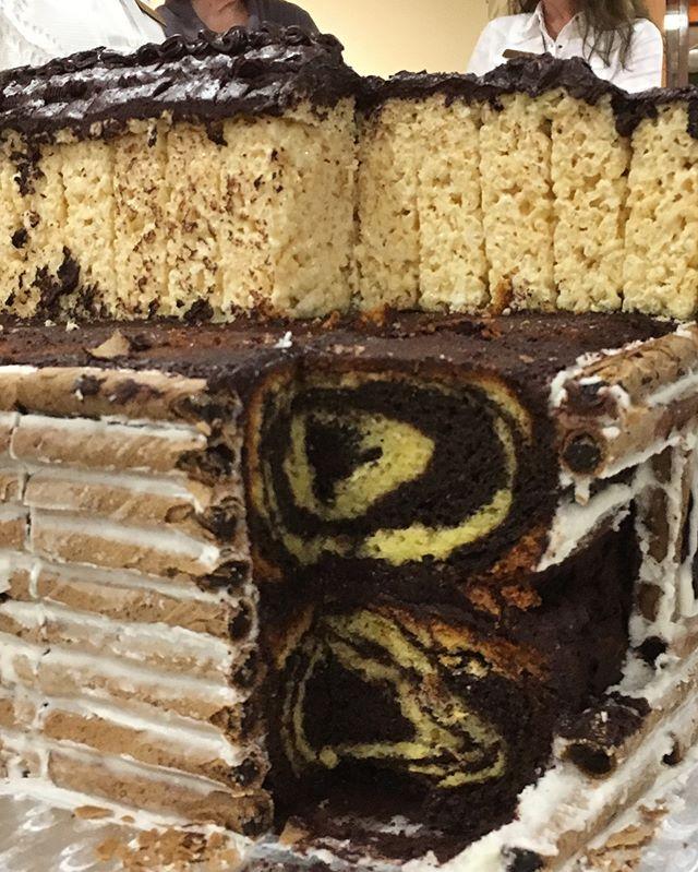 Marble cake! _Rice Krispie Treat roof!_H