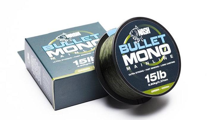 Nash Bullet Mono green 15lb 1000m spool.