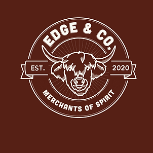 A logo for a spirit merchants. In the centre there is an outline drawing of a highland cows head. Behind this, there is a circle, which includes the writing 'Edge & Co. Est. 2020. Merchants of Spirit. It is a white outline on a burgundy backdrop.