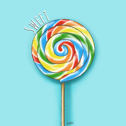 An illustration of a large round lollipop, which has stripes of yellow, orange, green, blue and red on it. It has a wooden stick. Above the image is the word 'sweet' in white letters, and it is all set on a turquoise background.