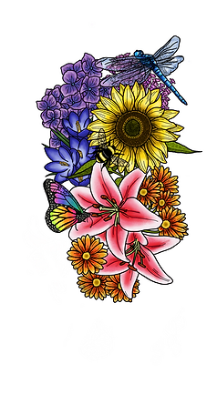 A tattoo design, which is a large, detailed drawing of many different flowers. The flowers are purple, deep blue and orange, and towards the top is a large yeloow sunflower. Resting on the flowers you can also see a bumble bee, a butterfly with rainbow coloured wings and a dragonfly with a blue body.
