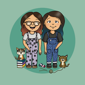 A cartoon portrait of two sisters stood side by side. With their two cats either side of them. They are both wearing cute dungaree outfits and are smiling.