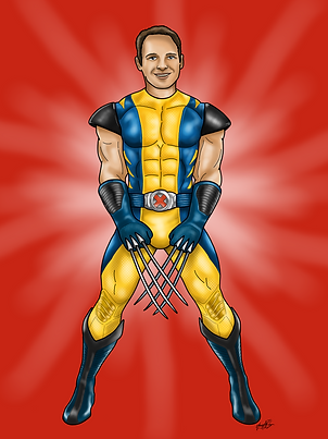 An image of a muscley man dressed in a yellow and blue superhero outfit. The outfit is a wolverine superhero one, so one his hands, some long claw like spikes extend from his knuckles. He is set on a red background.