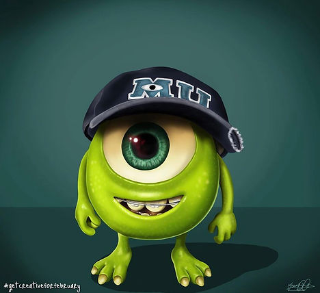 An image of the character 'Mike Wazowski' from the film 'Monsters University'. Mike is a small green monster, who has a perfectly round body and one large eye in the centre of his head. He is wearing a blue, tattered baseball cap and also has braces on his teeth, shown in his mouth which is smiling.