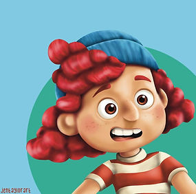 An illustration of the character Giulia from the pixar film 'Luca'. The character is a young girl with red hair and freckles. She is wearing a red and white striped tshirt and a blue knitted hat.