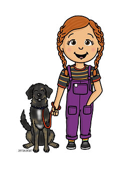 A cartoon style portrait of a young lady with red hair. She has her hair in two braids, and is wearing an outfit of colourful dungarees and a striped rainbow tshirt. She has beside her a large black dog who is on a lead.