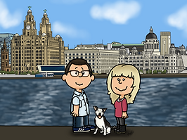 This portrait features a cartiin drawing of a male and female couple. The an has dark hair and glasses and is wearing a button down shirt with jeans. The female has long blonde hair and is wearing a pink top with black jeans. Between them is a white dog with black patches.Behind them is the liverpool skyline.