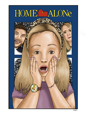A portrait pf a young girl with blonde hair, with her hands on her face, with a shocked expression. The portrait is a recreation of the film poster for the movie 'Home Alone' In the background, a lady and a man are sown peering through a snowy window.