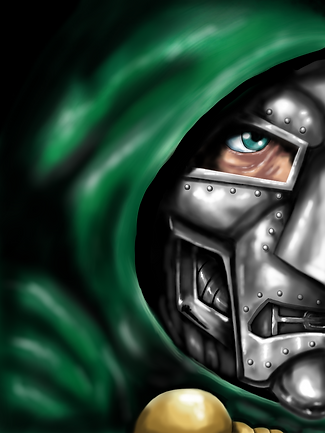 This is a close up image of a cartoon villain. The villain has on a metal mask which covers his face except for his eyes. They also have on a bottle green cape which is surrounding their face. The character has a deep teal coloured eye.