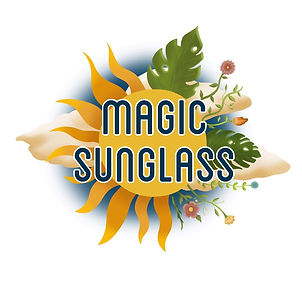 A logo for a brand called 'Magic Sunglass'. Behind the name, there is a sunshine image, with sunbeams on the left and flowers and leaves on the right. There are clouds behind this, and a circular blue glow.