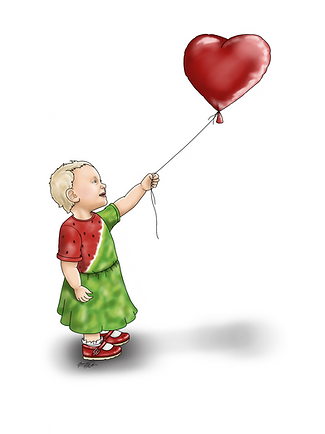 An illustration of a young female toddler with blonde her. Her left arm is outstretched and she is holding onto a red heart shaped balloon. The young girl has short blonde hair, and she is wearing a watermelon style dress with red and green. She also has on little red shoes and white frilly socks.