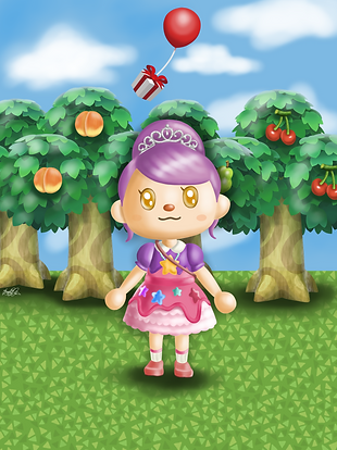 A cartoon portrait of a young female character featured in the game 'Animal Crossing'. She is stood on some grass and behind her are some fruit trees, and a blue sky.
