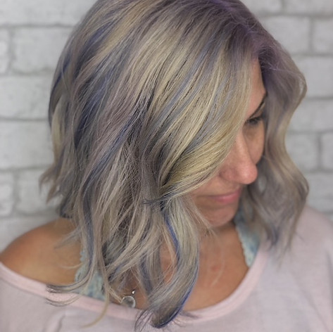 Bleach and tone with a lilac, vivid root smudge and lilac lowlights, haircut, blowdry and style.   Leilani Artistry Studio - Coral Springs, Florida   Broward County's best hair and makeup salon.