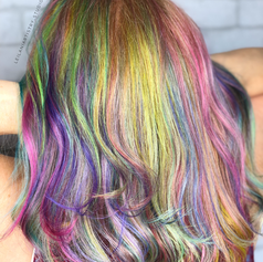 Unicorn Hair.   Vivid highlights, haircut, blowdry and style.   Leilani Artistry Studio - Coral Springs, Florida   Broward County's best hair and makeup salon.