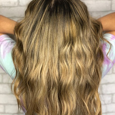 Full babylight (thin highlights), root smudge, haircut, blowdry and style.
