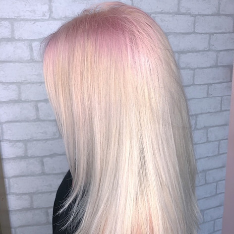 Bleach and tone with a vivid pink root smudge, haircut, blowdry and style.   Leilani Artistry Studio - Coral Springs, Florida   Broward County's best hair and makeup salon.