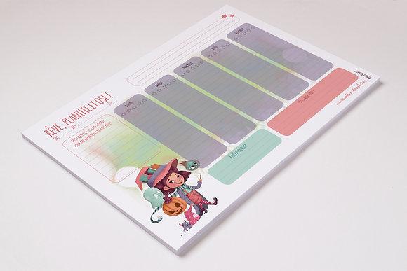 """Rêve, planifie et ose !"" - Planning hebdomadaire A4"
