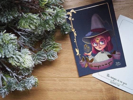 Ensemble de 5 cartes postales or - The magic is in you