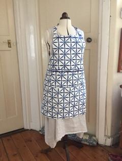 Blue geometics apron