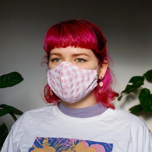 Floral Pink Gingham Mask