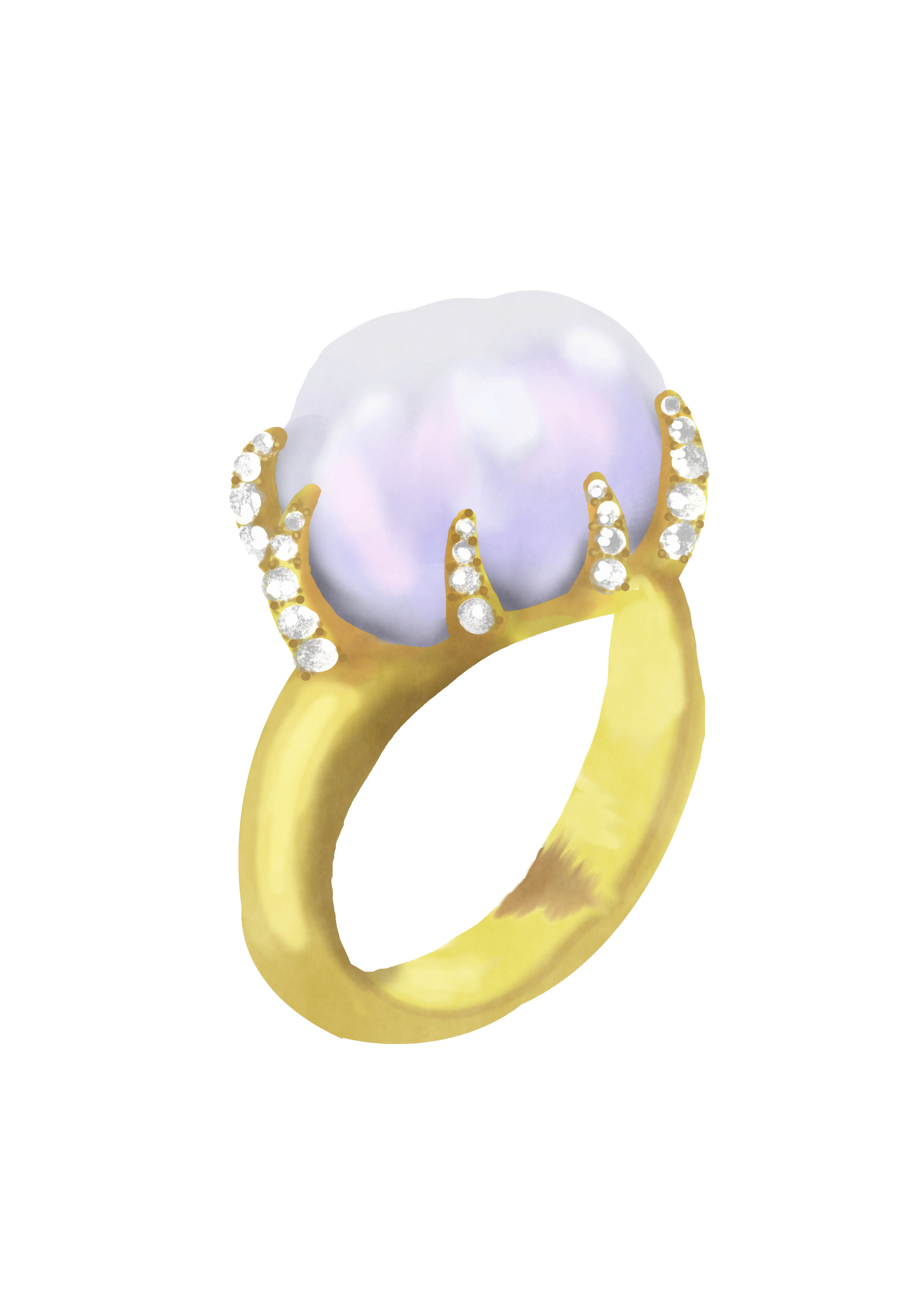 Baroque Pearl Claw Ring