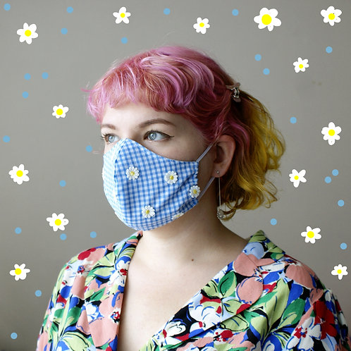 Gingham and Daisies Mask