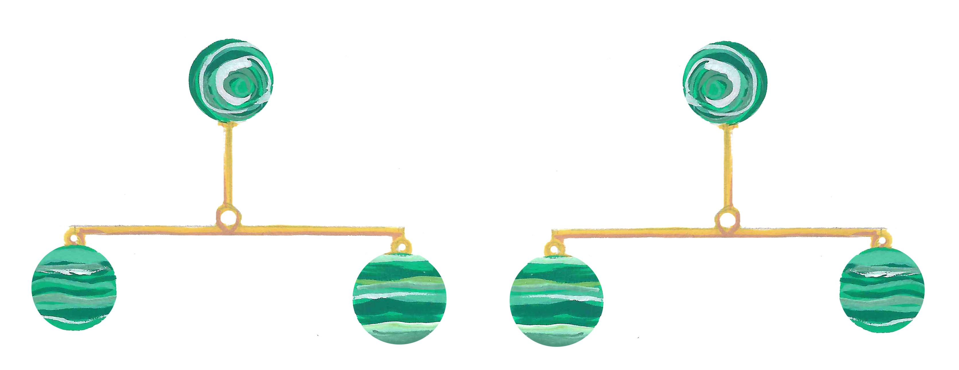 Malachite Orb Earrings
