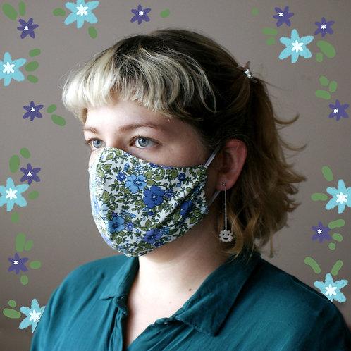 Tiny Blue Floral Mask