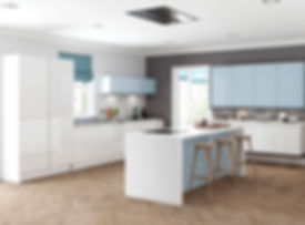 Welford kitchen white and sky blue