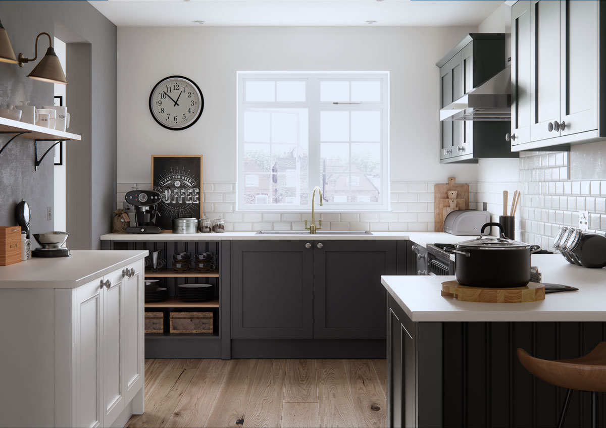 Faringdon Beaded Kitchen in porcelain an