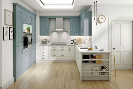 Milbourne kitchen Chalk Blue and Porcela