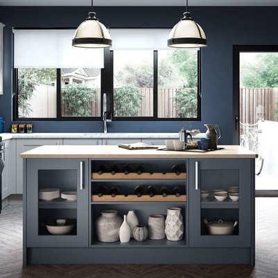 Hartside kitchen Light Grey and Steel Bl