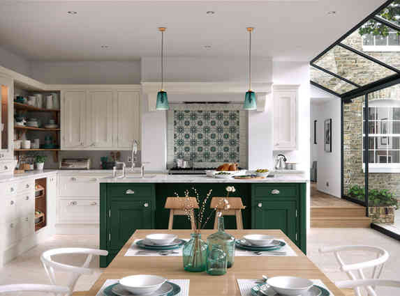 Baystone kitchen with island in Calico