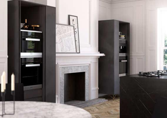 Aconbury kitchen in black steel