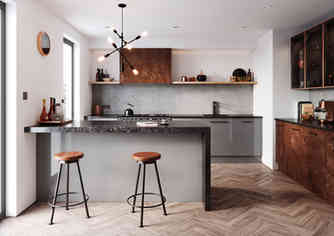 Cosdon kitchen mid grey and industrial rust